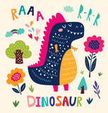 Illustration with funny dinosaur and flower