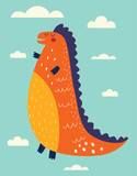 Illustration with funny dinosaur against the sky