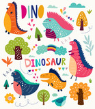 Funny illustration with dinosaurs and trees