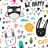 Seamless pattern with black owl and rabbits
