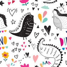 Seamless Pattern  Cute Black Dinosaurs In Nature Sticker