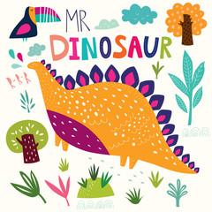 Illustration with funny dinosaur and flower © moleskostudio