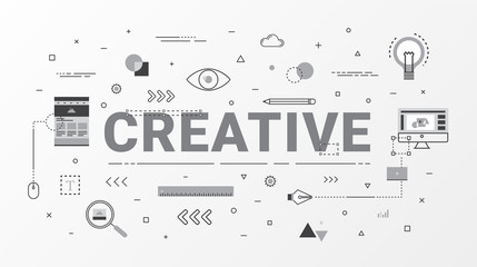 Creative Info graphics design concept. Flat line creative idea concept. Thin line art style design for web banner, business creative, education, poster design and advertising. Vector illustration. © Mokoland