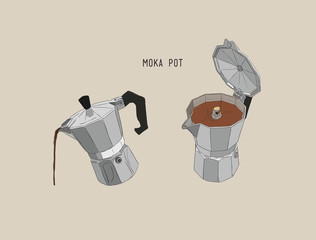 moka pot , coffee brewing ,sketh vector.
