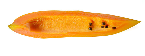 Sliced papaya on white Isolated Background Top View