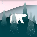 White bear walking in pine tree forest covered with snow