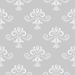 Floral wallpaper background. Gray seamless pattern