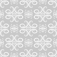 Vintage ornaments. Gray seamless pattern for wallpapers and fabric