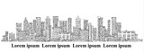 City skyline background. Hand drawn vector - 156194264