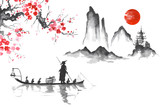 Japan Traditional japanese painting Sumi-e art Man with boat - 156203841