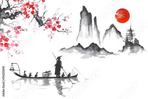 Japan Traditional japanese painting Sumi-e art Man with boat © rudut2015