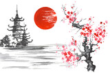 Japan Traditional japanese painting Sumi-e art Sakura Sun Temple