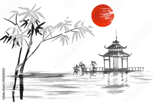 Japan Traditional japanese painting Sumi-e art Bamboo Sun Lake