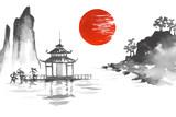 Japonia Tradycyjne malarstwo japo? Skie Sumi-e sztuki Sun Lake Rzeka Hill Temple Mountain