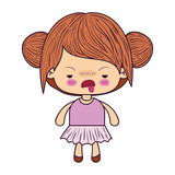 colorful caricature little girl with double collected hair and facial expression of disgust vector illustration - 156230467