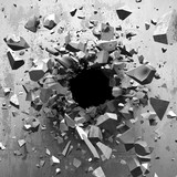 Eksplozja - dziura w ścianie