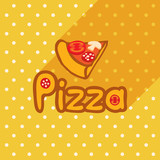 Vector poster in flat style with slice of pizza on the background of the tablecloth with polka dots. Template for flyers, banners, invitations, brochures and covers.