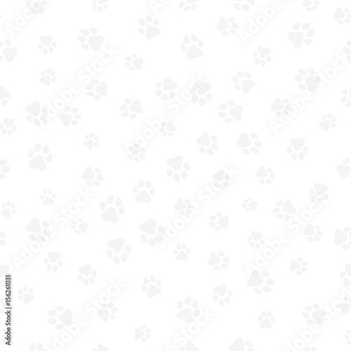 obraz PCV A pattern of canine tracks of different sizes. Traces of a light gray dog on a white background. Vector illustration in a flat style