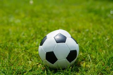 Ball für Fussball im grünen Rasen