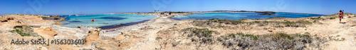 Deurstickers Canarische Eilanden Tourists enjoy wonderful island beach, Formentera - Spain