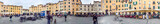LUCCA, ITALY - APRIL 2015: Tourists along city square, panoramic view. Lucca is a major destination in Tuscany