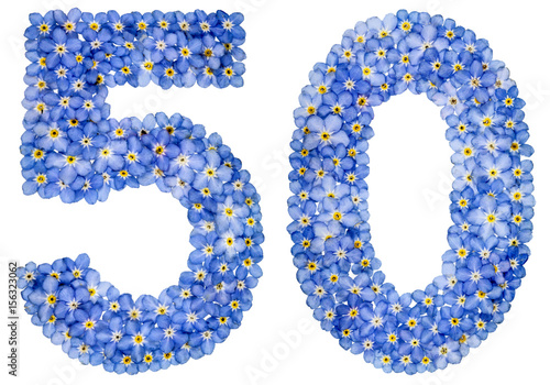 Poster Arabic numeral 50, fifty, from blue forget-me-not flowers