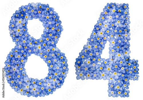 Poster Arabic numeral 84, eighty four, from blue forget-me-not flowers