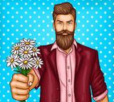 Pop art, brutalny brodaty mężczyzna, macho trzyma bukiet kwiatów