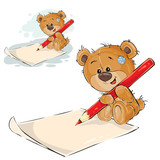 Vector illustration of a brown teddy bear holding a pencil in his paws and writing it on a paper. Print, template, design element, can be used for advertising, ads
