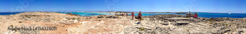 Deurstickers Canarische Eilanden FORMENTERA, SPAIN - JUNE 2015: Tourists enjoy wonderful island beach, panoramic view. Formentera is a famous tourist destination in Spain