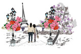 Romantic couple walking the Parisian park amoung flowers at the background of the Eiffel tower. Hand drawn vector.
