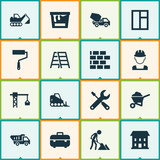 Industry Icons Set. Collection Of Paint Bucket, Wall, Truck And Other Elements. Also Includes Symbols Such As Construction, Vehicle, Worker. - 156340849