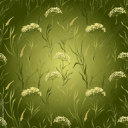 Fototapeta Green meadow wildflower seamless pattern.