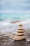 Zen stones, background ocean for the perfect meditation