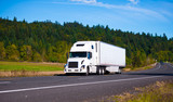 Fototapety White popular luxe semi truck trailer on scenic highway