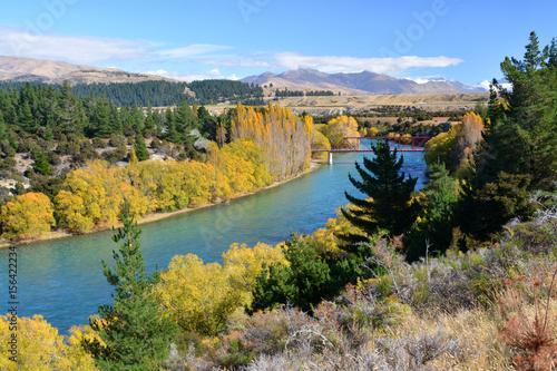 Clutha River & Bridge in Autumn, Otago New Zealand Poster
