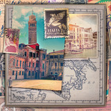 Old fashioned postcards and stamps of the Venice city
