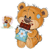 Vector illustration of a brown teddy bear sweet tooth holding in its paws a chocolate bar and eating it. Print, template, design element