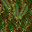 Seamless background with palm leaves. Jungle pattern