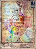 Manoscritto esoterico e misterioso con disegni,collage e schizzi alchemici e astrologici