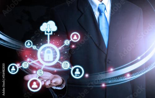 Businessman holding world futuristic connection Lock technology Poster