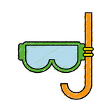 snorkel mask icon over white background. vector illustration