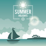 beautiful poster seaside with logo summer holydays and yacht vector illustration