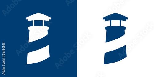 Icono plano faro azul y blanco
