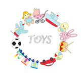 A set of children's toys on the white isolated background. A vector picture