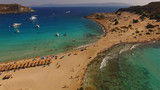 Aerial drone photo of Elafonisos beach with turquoise clear waters, Peloponnese, Greece