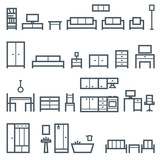 Vector furniture outline icons 2 - 156596046