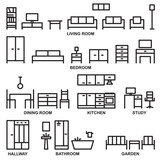 Vector furniture outline icons 3 - 156596075