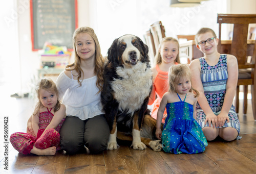 girls on the floor with the Bernese Mountain Dog Poster