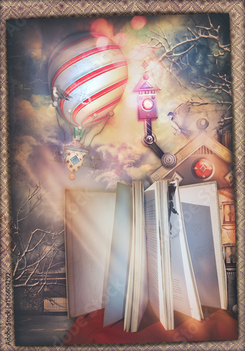 Papiers peints Imagination Fairytales book with enchanted landscape and hot air balloon